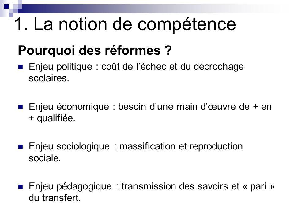 1. La notion de compétence Pourquoi des réformes ? Enjeu politique : coût de léchec et du décrochage scolaires. Enjeu économique : besoin dune main dœ