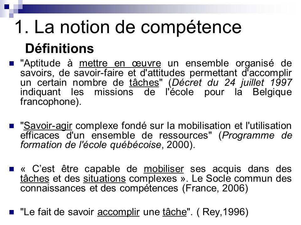 1. La notion de compétence Définitions
