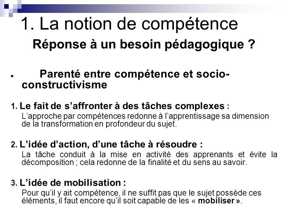 1. La notion de compétence Réponse à un besoin pédagogique ? Parenté entre compétence et socio- constructivisme 1. Le fait de saffronter à des tâches