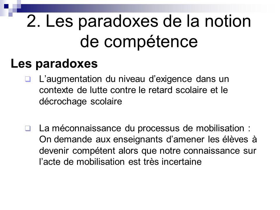 2. Les paradoxes de la notion de compétence Les paradoxes Laugmentation du niveau dexigence dans un contexte de lutte contre le retard scolaire et le