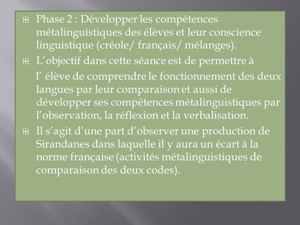 Phase 2 : Développer les compétences métalinguistiques des élèves et leur conscience linguistique (créole/ français/ mélanges). Lobjectif dans cette s