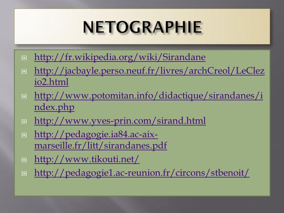 http://fr.wikipedia.org/wiki/Sirandane http://jacbayle.perso.neuf.fr/livres/archCreol/LeClez io2.html http://jacbayle.perso.neuf.fr/livres/archCreol/L