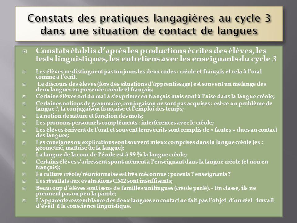Constats établis daprès les productions écrites des élèves, les tests linguistiques, les entretiens avec les enseignants du cycle 3 Les élèves ne dist