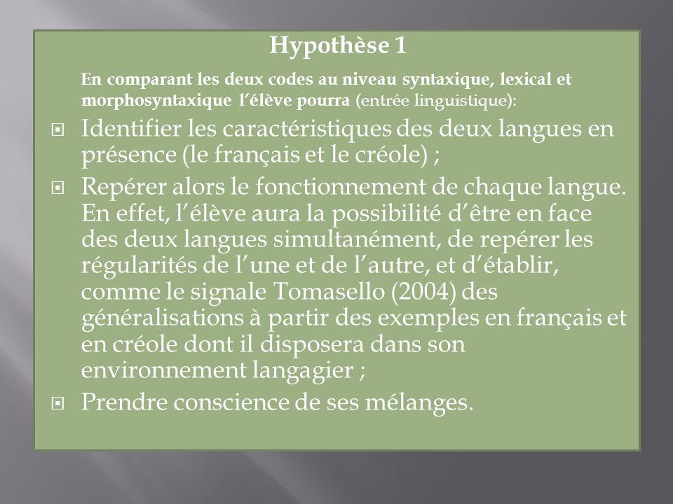Hypothèse 1 En comparant les deux codes au niveau syntaxique, lexical et morphosyntaxique lélève pourra (entrée linguistique): Identifier les caractér