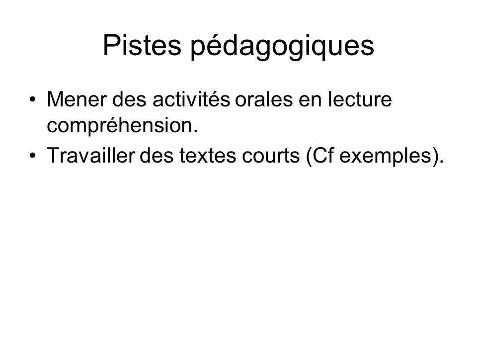 Pistes pédagogiques Mener des activités orales en lecture compréhension. Travailler des textes courts (Cf exemples).