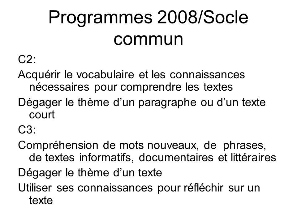Programmes 2008/Socle commun C2: Acquérir le vocabulaire et les connaissances nécessaires pour comprendre les textes Dégager le thème dun paragraphe o