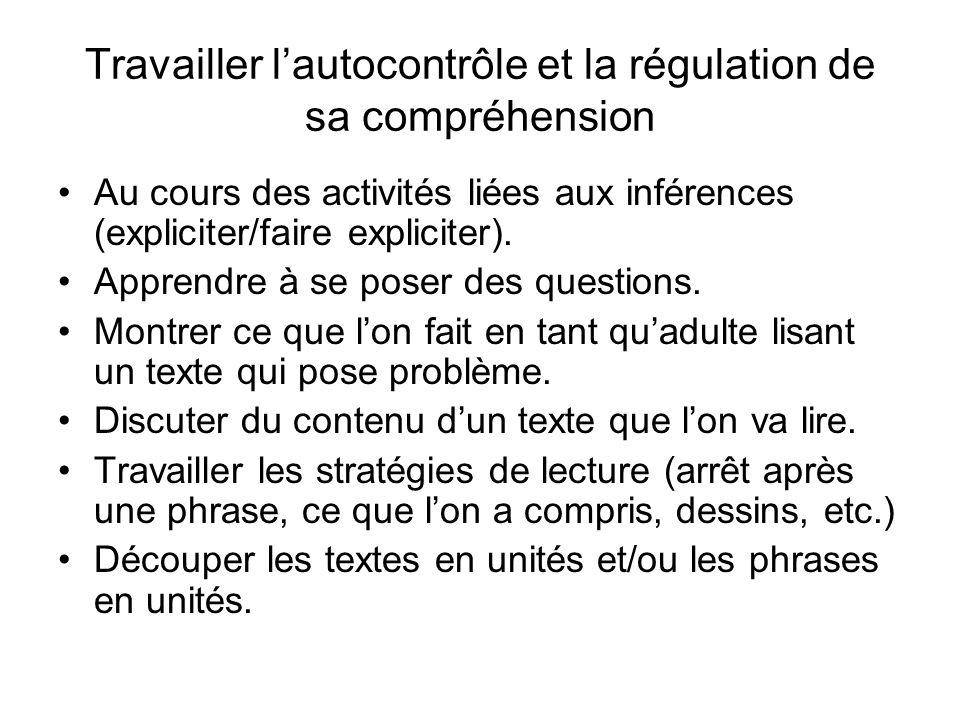 Travailler lautocontrôle et la régulation de sa compréhension Au cours des activités liées aux inférences (expliciter/faire expliciter). Apprendre à s