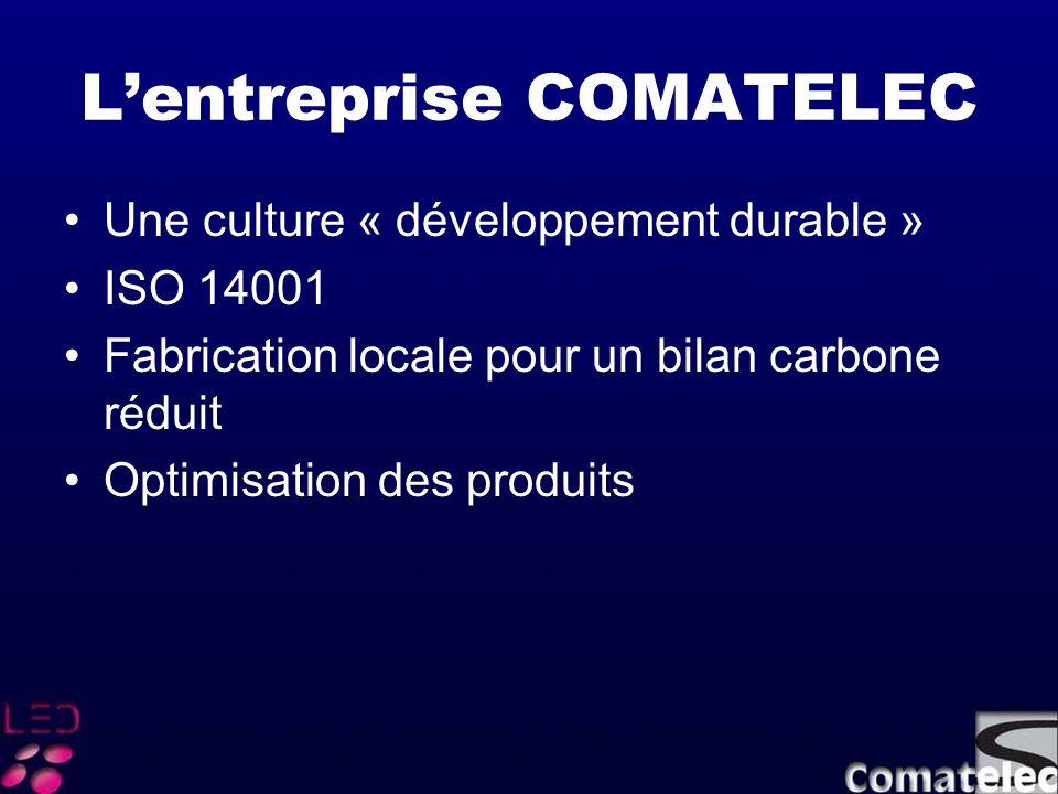 Lentreprise COMATELEC Une culture « développement durable » ISO 14001 Fabrication locale pour un bilan carbone réduit Optimisation des produits
