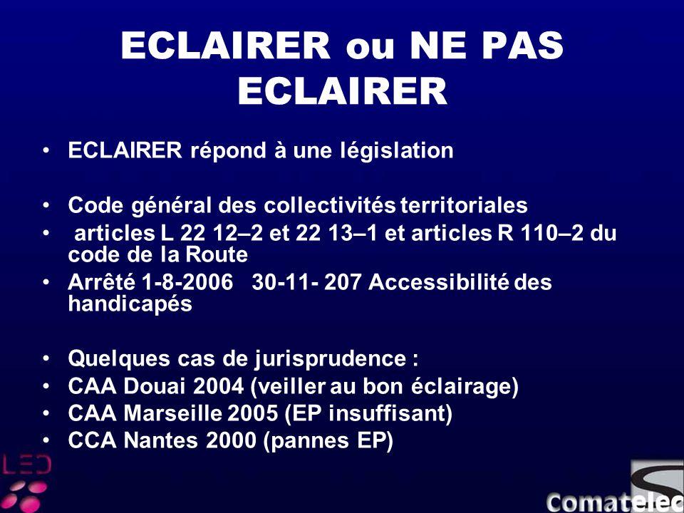 ECLAIRER ou NE PAS ECLAIRER ECLAIRER répond à une législation Code général des collectivités territoriales articles L 22 12–2 et 22 13–1 et articles R