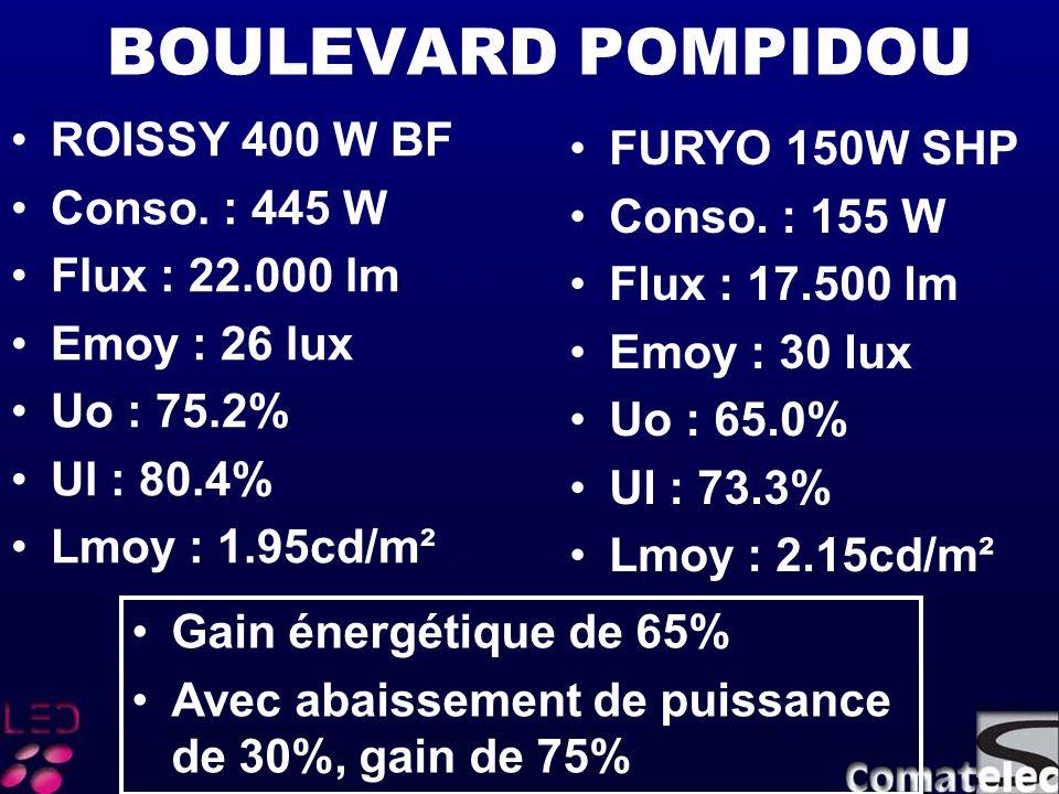BOULEVARD POMPIDOU ROISSY 400 W BF Conso. : 445 W Flux : 22.000 lm Emoy : 26 lux Uo : 75.2% Ul : 80.4% Lmoy : 1.95cd/m² FURYO 150W SHP Conso. : 155 W