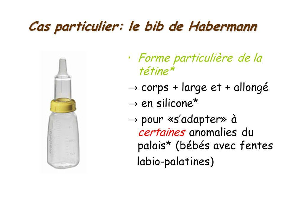 Cas particulier: le bib de Habermann Forme particulière de la tétine* corps + large et + allongé en silicone* pour «sadapter» à certaines anomalies du