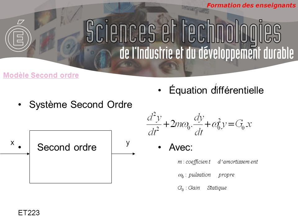 Formation des enseignants ET223 Fonction de transfert Réponse indicielle: Second ordre résonnant: m<1 X(t)=échelon damplitude E modèle second ordre Pôles table