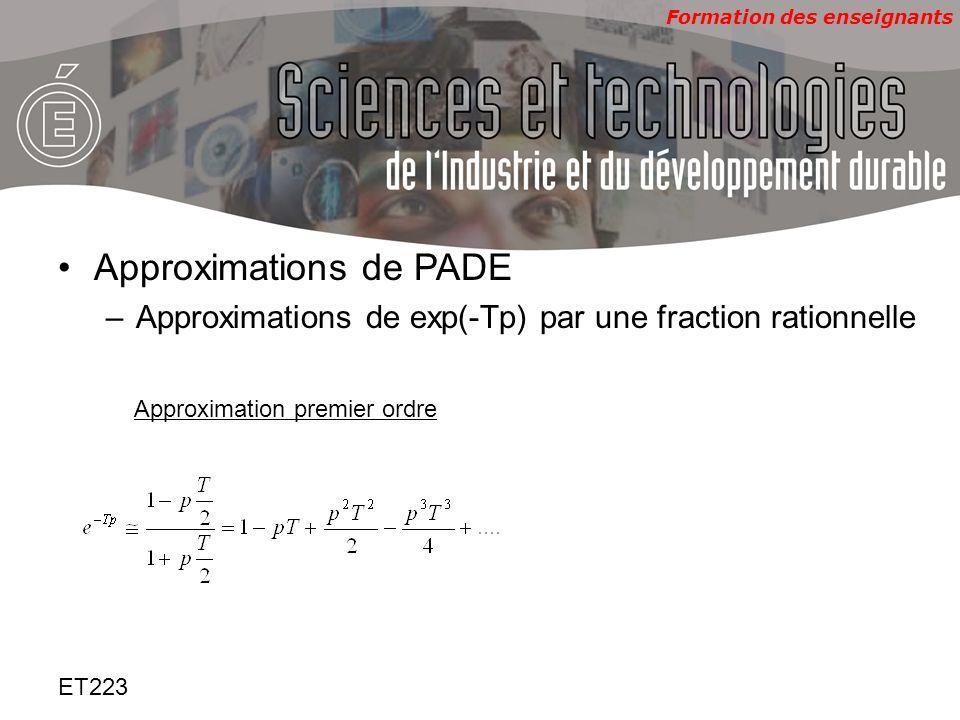 Formation des enseignants ET223 Approximations de PADE –Approximations de exp(-Tp) par une fraction rationnelle Approximation premier ordre