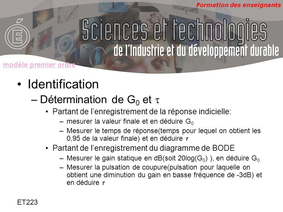 Formation des enseignants ET223 Identification –Détermination de G 0 et Partant de lenregistrement de la réponse indicielle: –mesurer la valeur finale