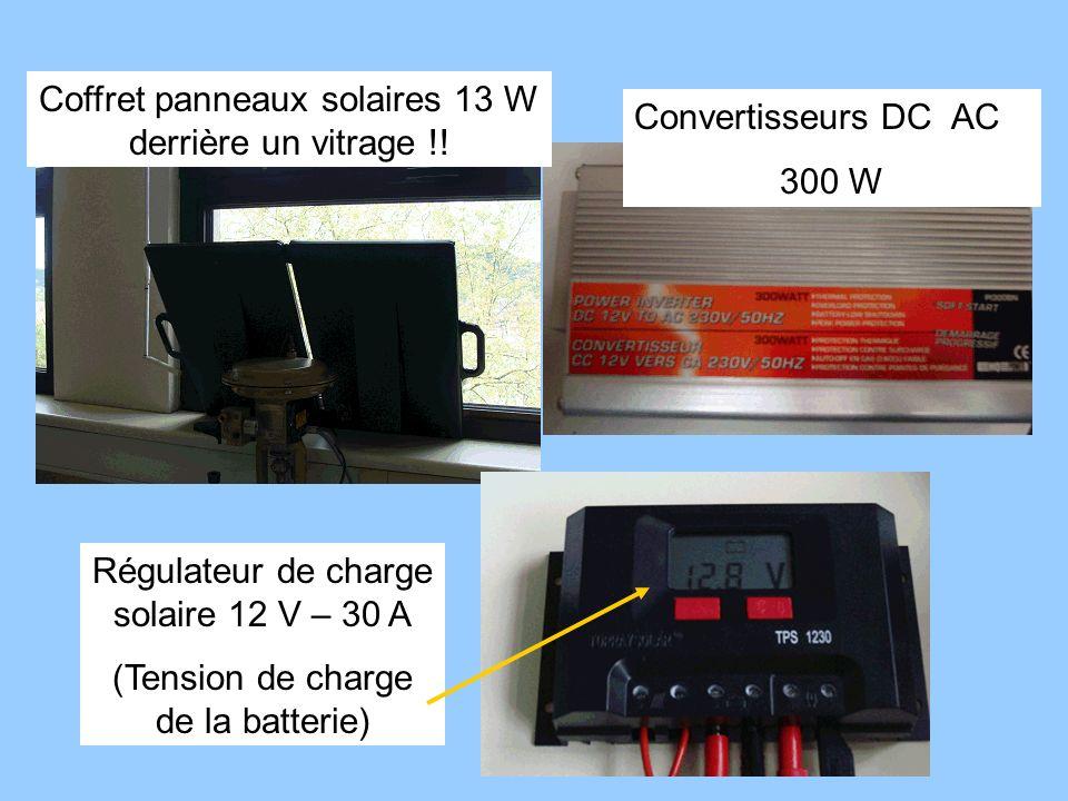Régulateur de charge solaire 12 V – 30 A (Tension de charge de la batterie) Coffret panneaux solaires 13 W derrière un vitrage !! Convertisseurs DC AC