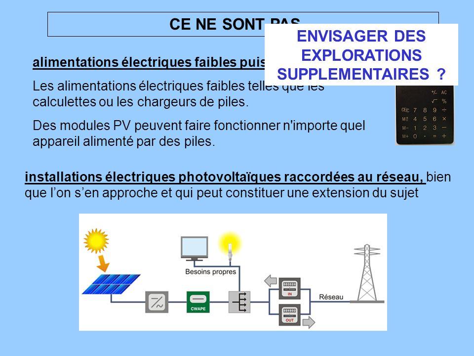 alimentations électriques faibles puissances Les alimentations électriques faibles telles que les calculettes ou les chargeurs de piles. Des modules P