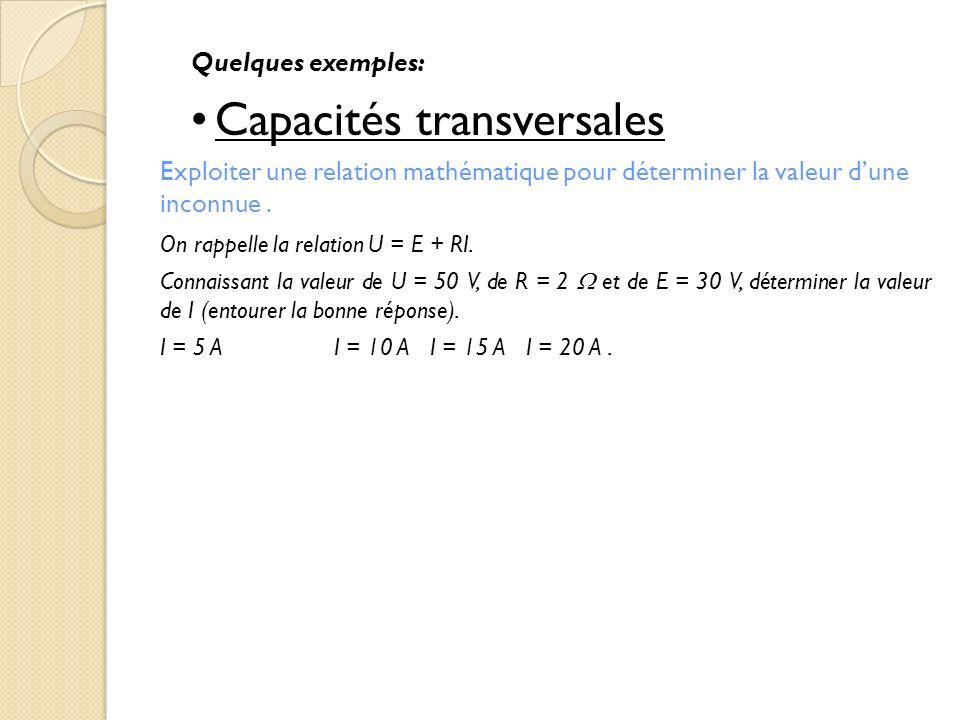 Quelques exemples: Capacités transversales Exploiter une relation mathématique pour déterminer la valeur dune inconnue. On rappelle la relation U = E