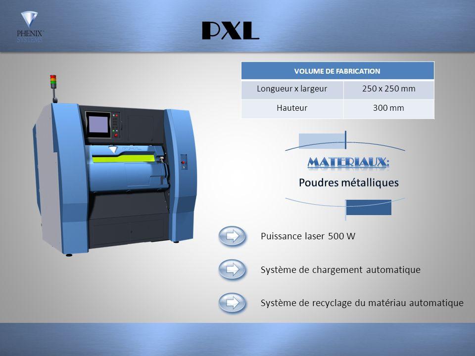 PXM VOLUME DE FABRICATION Longueur x largeur140 x 140 mm Hauteur100 mm Système de chargement semi-automatique Système externe de recyclage du matériau en option (PX BOX) Puissance laser 300 W