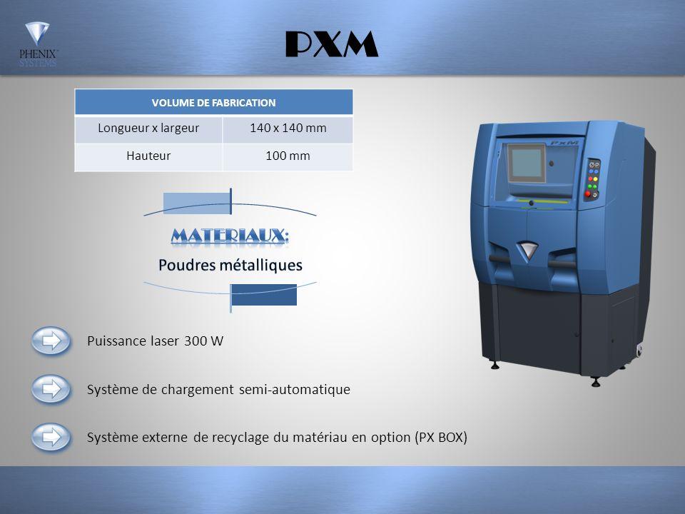 PXS VOLUME DE FABRICATION Longueur x largeur100 x 100 mm Hauteur80 mm Système de chargement manuel Système externe de recyclage du matériau en option (PX BOX) Puissance laser 50 W