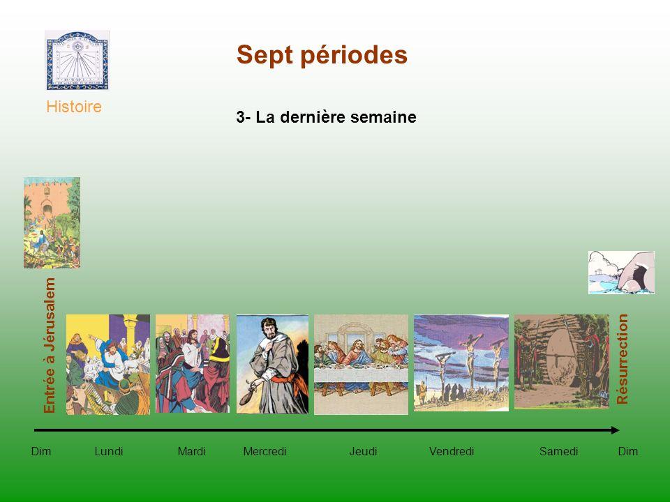 Sept périodes Histoire Dim Lundi Mardi Mercredi Jeudi Vendredi Samedi Dim Entrée à Jérusalem Résurrection 3- La dernière semaine