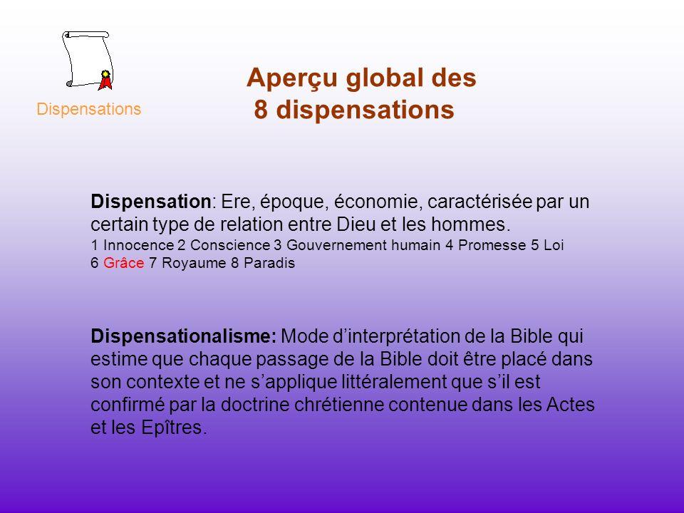 Aperçu global des 8 dispensations Dispensation: Ere, époque, économie, caractérisée par un certain type de relation entre Dieu et les hommes. 1 Innoce