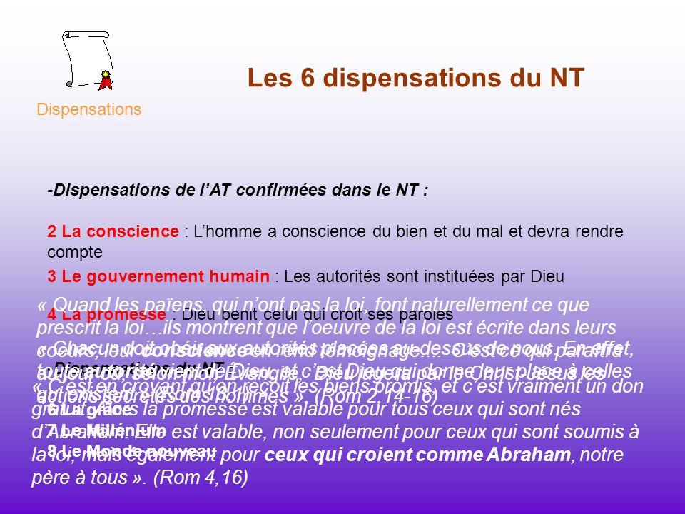 Les 6 dispensations du NT -Dispensations du NT : 6 La grâce 7 Le Millénium 8 Le Monde nouveau Dispensations -Dispensations de lAT confirmées dans le N