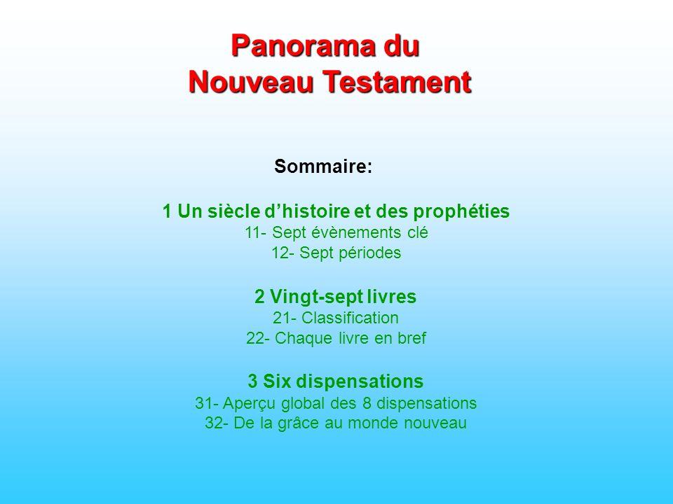 Sommaire: 1 Un siècle dhistoire et des prophéties 11- Sept évènements clé 12- Sept périodes 2 Vingt-sept livres 21- Classification 22- Chaque livre en