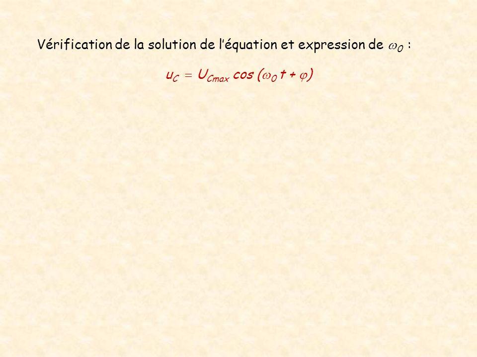 Vérification de la solution de léquation et expression de 0 : u C U Cmax cos ( 0 t + )