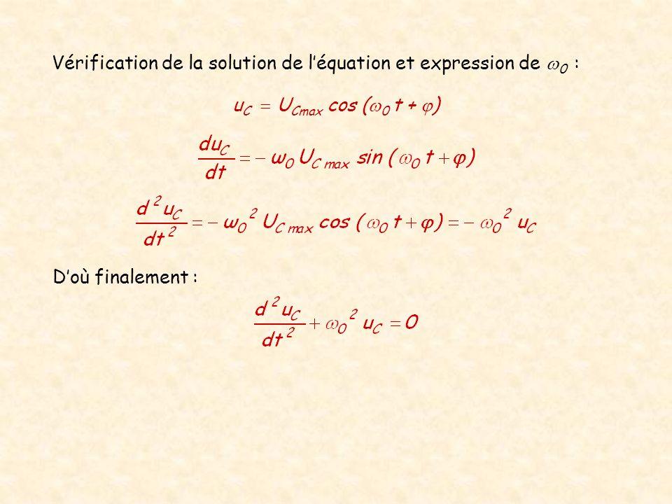 Vérification de la solution de léquation et expression de 0 : Doù finalement : u C U Cmax cos ( 0 t + )