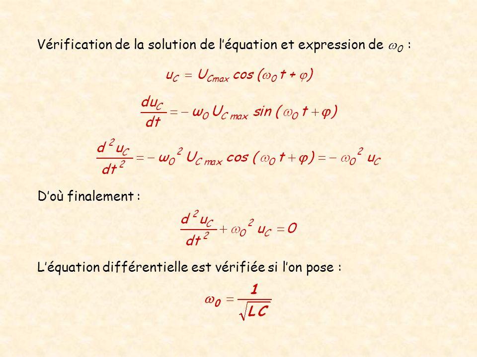 Vérification de la solution de léquation et expression de 0 : Léquation différentielle est vérifiée si lon pose : Doù finalement : u C U Cmax cos ( 0