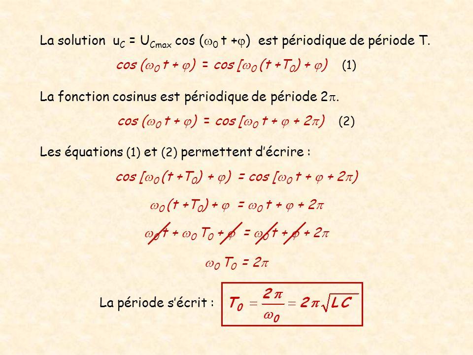 La période sécrit : 0 t + 0 T 0 + = 0 t + + 2 La fonction cosinus est périodique de période 2. Les équations (1) et (2) permettent décrire : La soluti