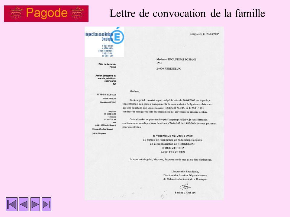 Lettre de convocation de la famille