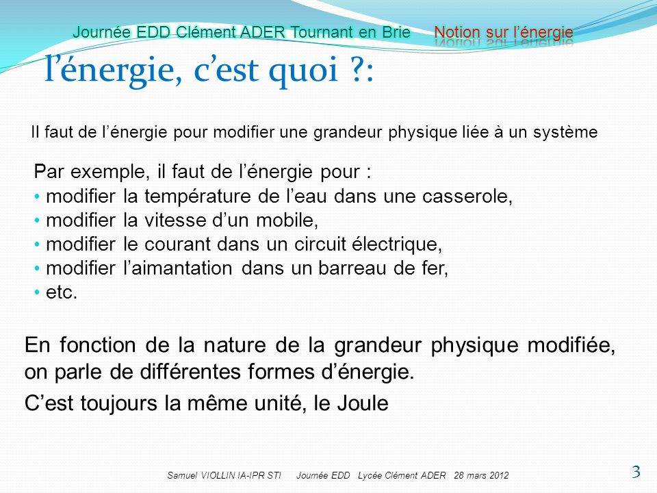 Samuel VIOLLIN IA-IPR STI Journée EDD Lycée Clément ADER 28 mars 2012 lénergie, cest quoi ?: 3 Il faut de lénergie pour modifier une grandeur physique