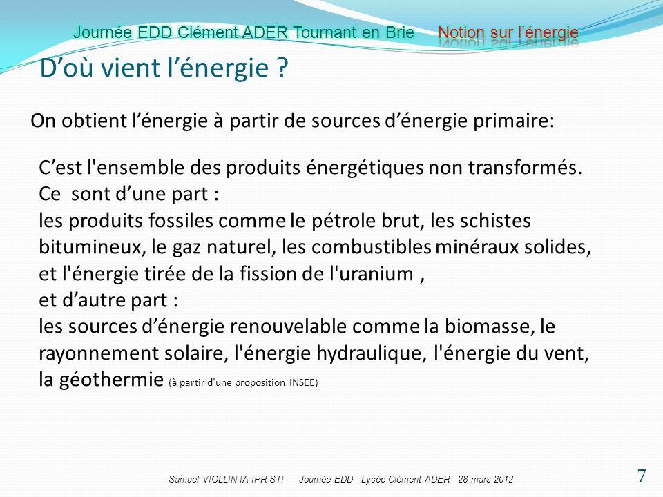 Samuel VIOLLIN IA-IPR STI Journée EDD Lycée Clément ADER 28 mars 2012 Doù vient lénergie ? On obtient lénergie à partir de sources dénergie primaire:
