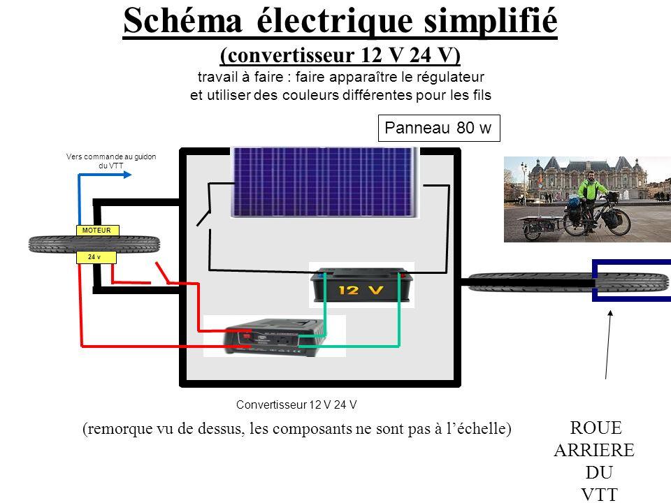 24 v Schéma électrique simplifié (convertisseur 12 V 24 V) travail à faire : faire apparaître le régulateur et utiliser des couleurs différentes pour