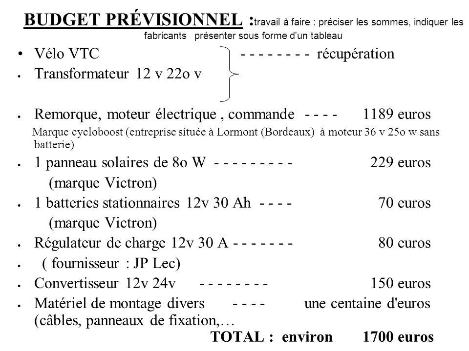 BUDGET PRÉVISIONNEL : travail à faire : préciser les sommes, indiquer les fabricants présenter sous forme d'un tableau Vélo VTC - - - - - - - - récupé