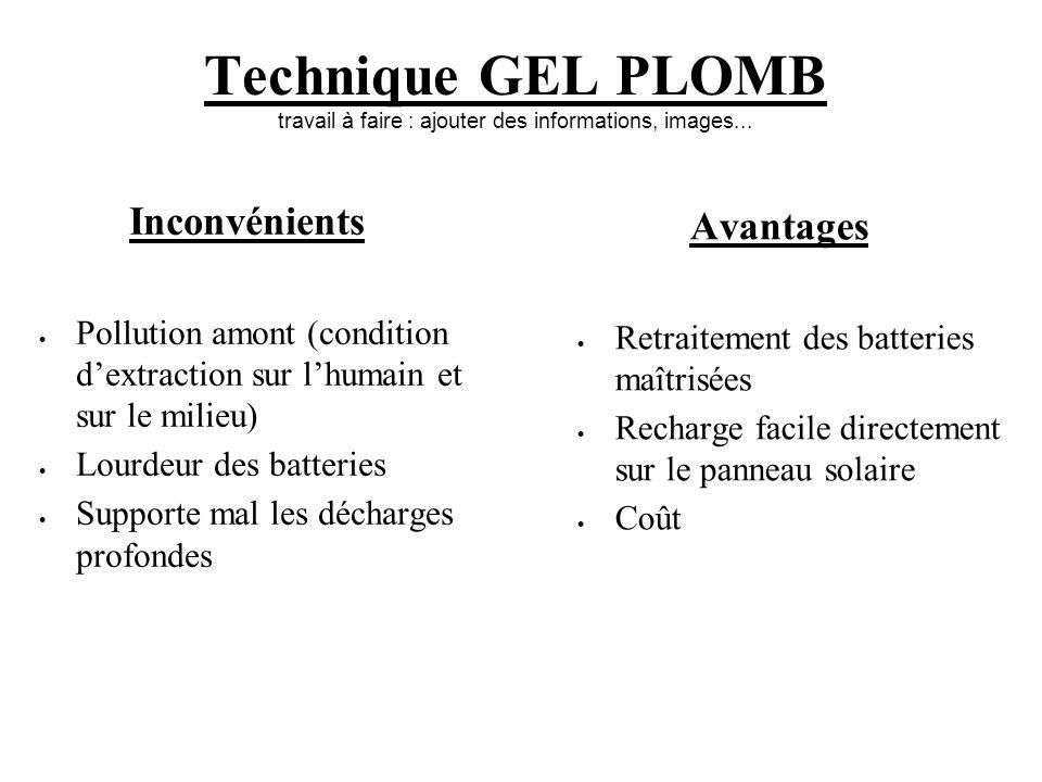 Technique GEL PLOMB travail à faire : ajouter des informations, images... Inconvénients Pollution amont (condition dextraction sur lhumain et sur le m