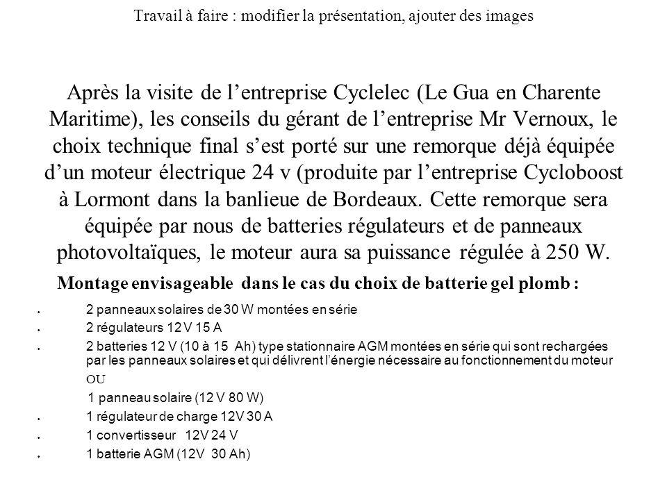 Travail à faire : modifier la présentation, ajouter des images Après la visite de lentreprise Cyclelec (Le Gua en Charente Maritime), les conseils du