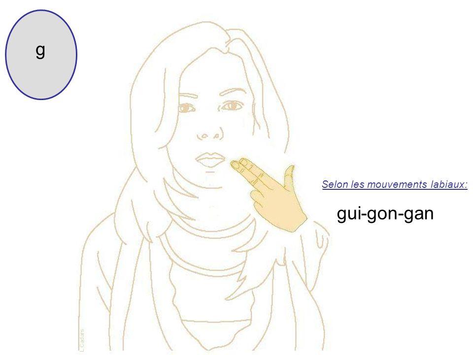 Selon les mouvements labiaux: g gui-gon-gan L.Cadars