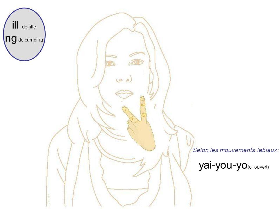 Selon les mouvements labiaux: yai-you-yo (o ouvert) ill de fille ng de camping L.Cadars