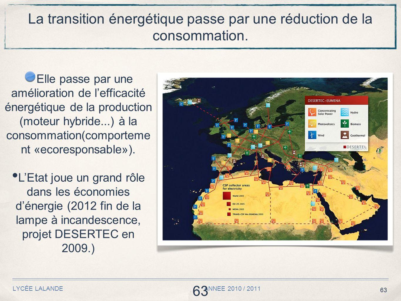 63 LYCÉE LALANDE ANNEE 2010 / 2011 63 La transition énergétique passe par une réduction de la consommation. Elle passe par une amélioration de leffica
