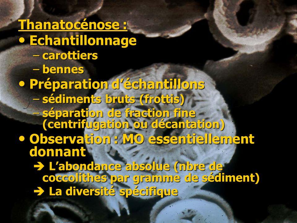 Thanatocénose : Echantillonnage Echantillonnage –carottiers –bennes Préparation déchantillons Préparation déchantillons –sédiments bruts (frottis) –sé