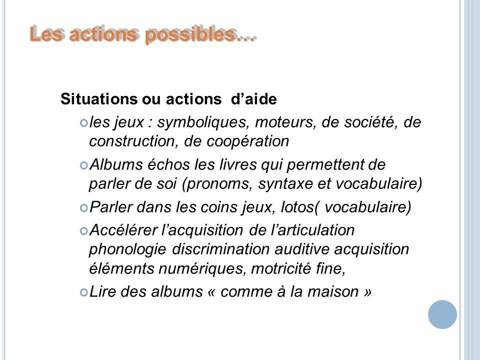 Les actions possibles… Situations ou actions daide les jeux : symboliques, moteurs, de société, de construction, de coopération Albums échos les livre