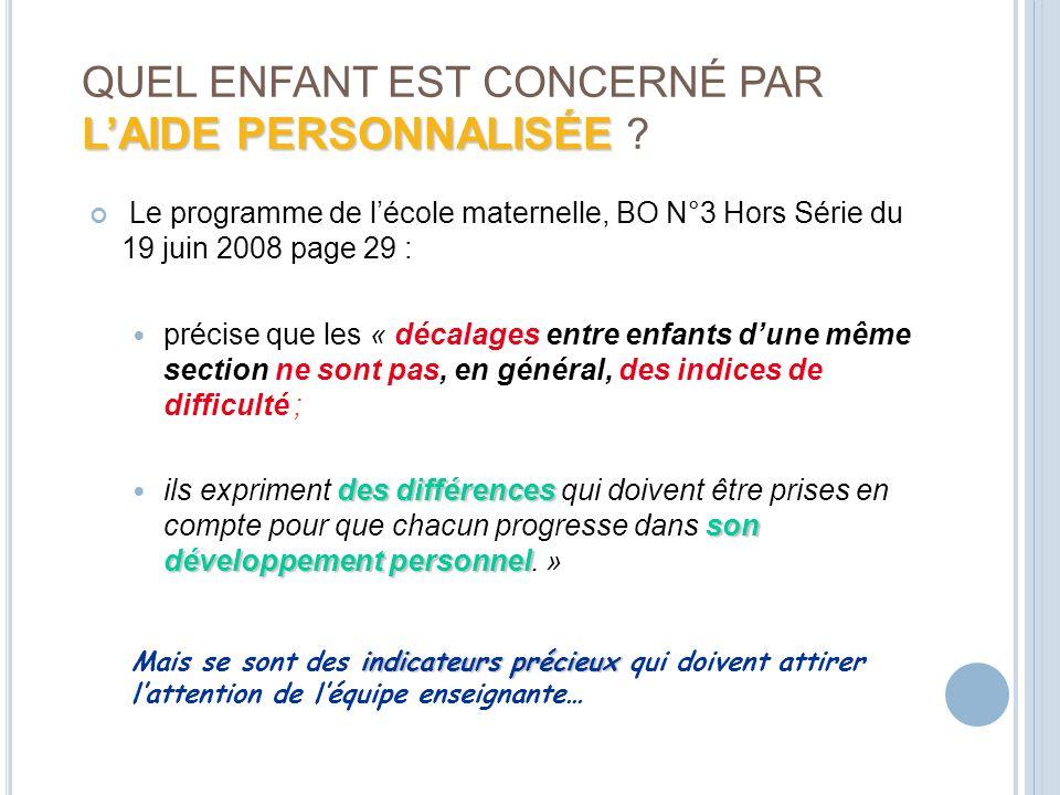 LAIDE PERSONNALISÉE QUEL ENFANT EST CONCERNÉ PAR LAIDE PERSONNALISÉE ? Le programme de lécole maternelle, BO N°3 Hors Série du 19 juin 2008 page 29 :