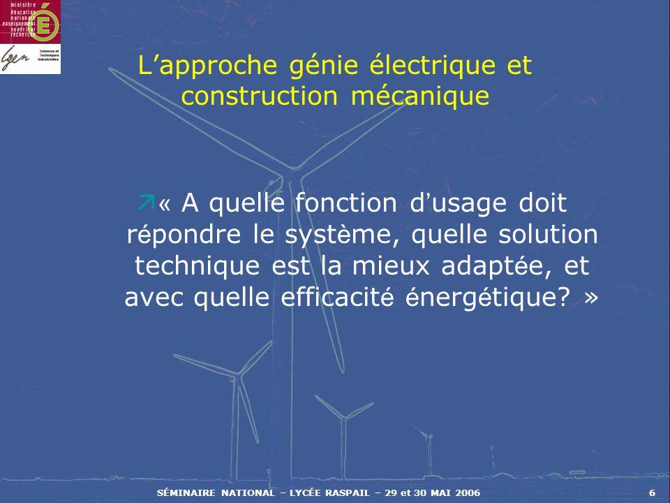 SÉMINAIRE NATIONAL – LYCÉE RASPAIL – 29 et 30 MAI 20066 Lapproche génie électrique et construction mécanique « A quelle fonction d usage doit r é pond