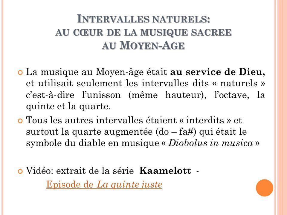 I NTERVALLES NATURELS : AU CŒUR DE LA MUSIQUE SACREE AU M OYEN -A GE La musique au Moyen-âge était au service de Dieu, et utilisait seulement les inte