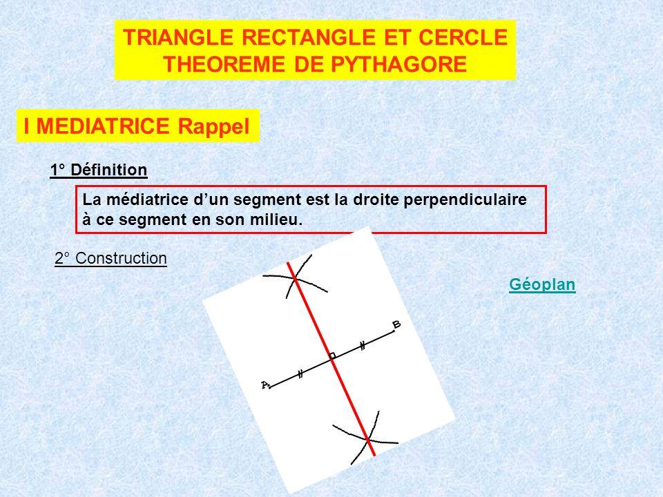 TRIANGLE RECTANGLE ET CERCLE THEOREME DE PYTHAGORE I MEDIATRICE Rappel 1° Définition La médiatrice dun segment est la droite perpendiculaire à ce segment en son milieu.