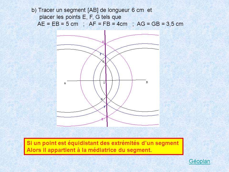 b) Tracer un segment [AB] de longueur 6 cm et placer les points E, F, G tels que AE = EB = 5 cm ; AF = FB = 4cm ; AG = GB = 3,5 cm Si un point est équidistant des extrémités dun segment Alors il appartient à la médiatrice du segment.