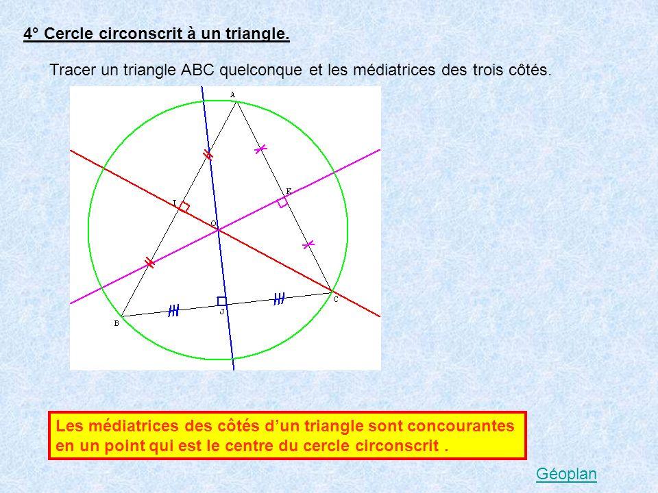4° Cercle circonscrit à un triangle. Tracer un triangle ABC quelconque et les médiatrices des trois côtés. Les médiatrices des côtés dun triangle sont
