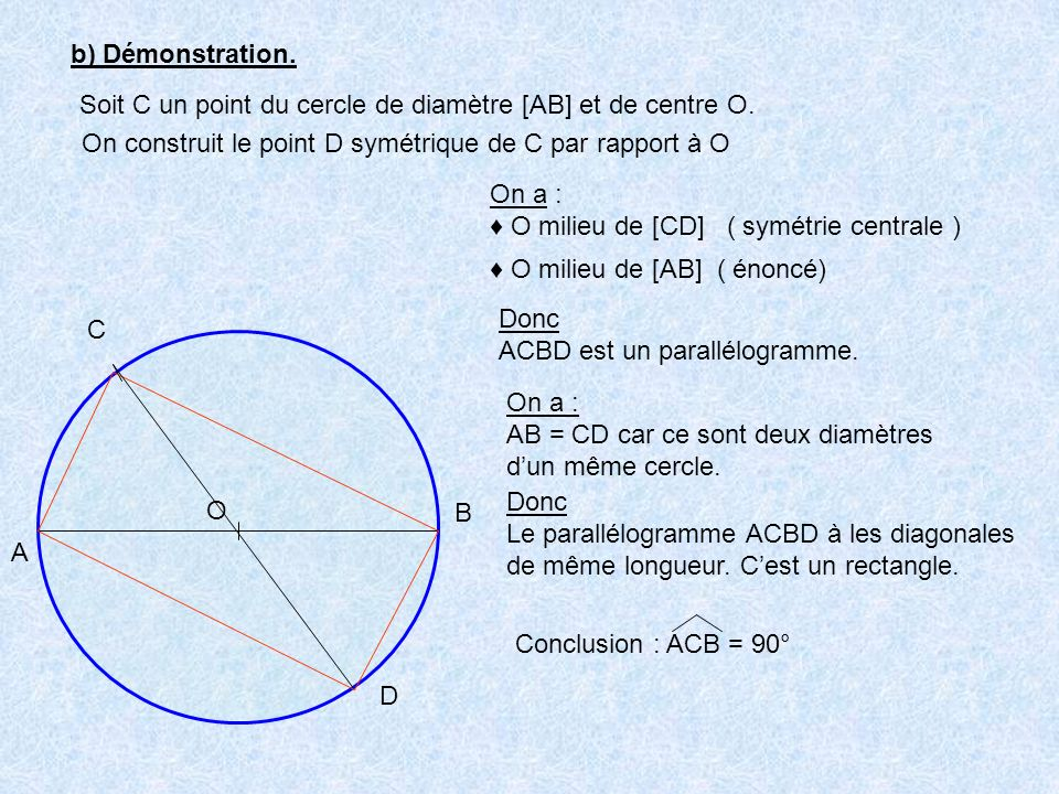 b) Démonstration. A B C O Soit C un point du cercle de diamètre [AB] et de centre O. On construit le point D symétrique de C par rapport à O D On a :
